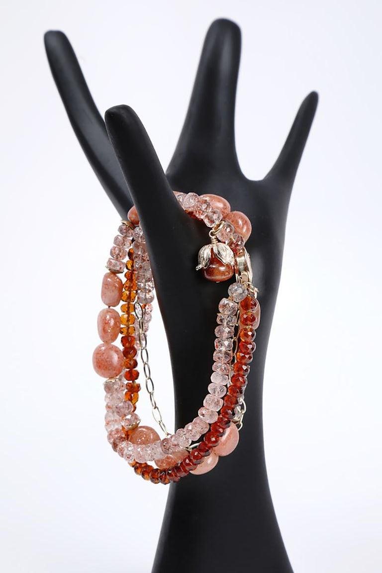 White Orchid Studio Bracelet Mandarin Garnet, Strawberry Quartz, Sunstone, Gold For Sale 2