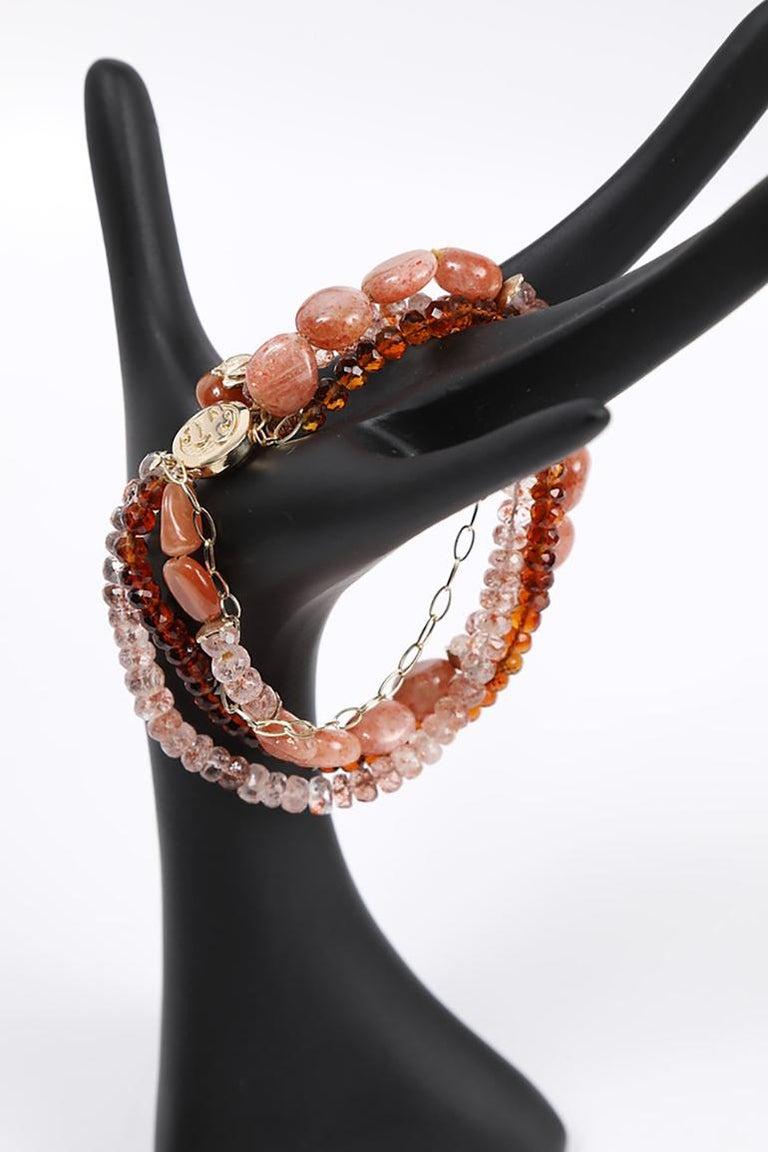 White Orchid Studio Bracelet Mandarin Garnet, Strawberry Quartz, Sunstone, Gold For Sale 3