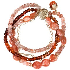 White Orchid Studio Bracelet Mandarin Garnet, Strawberry Quartz, Sunstone, Gold