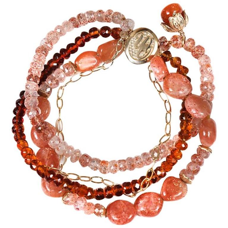 White Orchid Studio Bracelet Mandarin Garnet, Strawberry Quartz, Sunstone, Gold For Sale