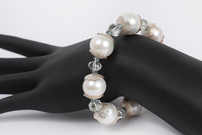 White Orchid Studio Bracelet Pearl Prasiolite Apatite Silver In New Condition For Sale In Athens, GA