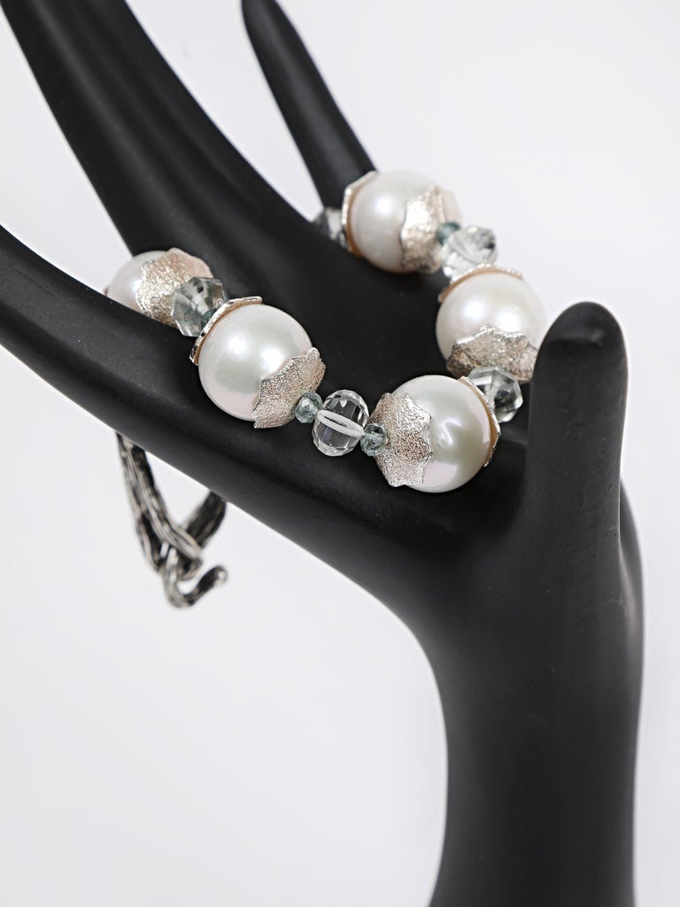 Contemporary White Orchid Studio Bracelet Pearl Prasiolite Apatite Silver For Sale