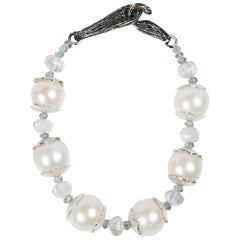 White Orchid Studio Falling Water Pearls Prasiolite Apatite Silver Bracelet