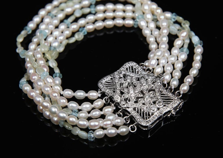 Round Cut White Orchid Studio Beaded Bracelet Pearl Topaz Chrysoberyl Diamonds White Gold  For Sale