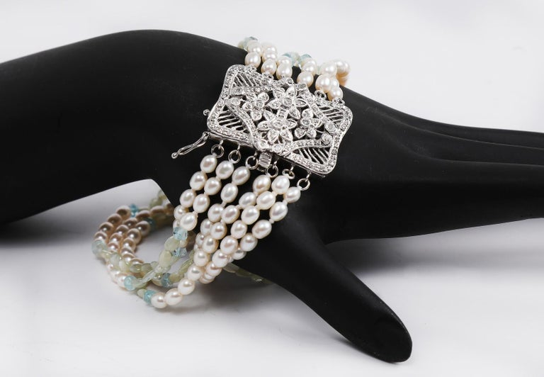 White Orchid Studio Beaded Bracelet Pearl Topaz Chrysoberyl Diamonds White Gold  In New Condition For Sale In Athens, GA