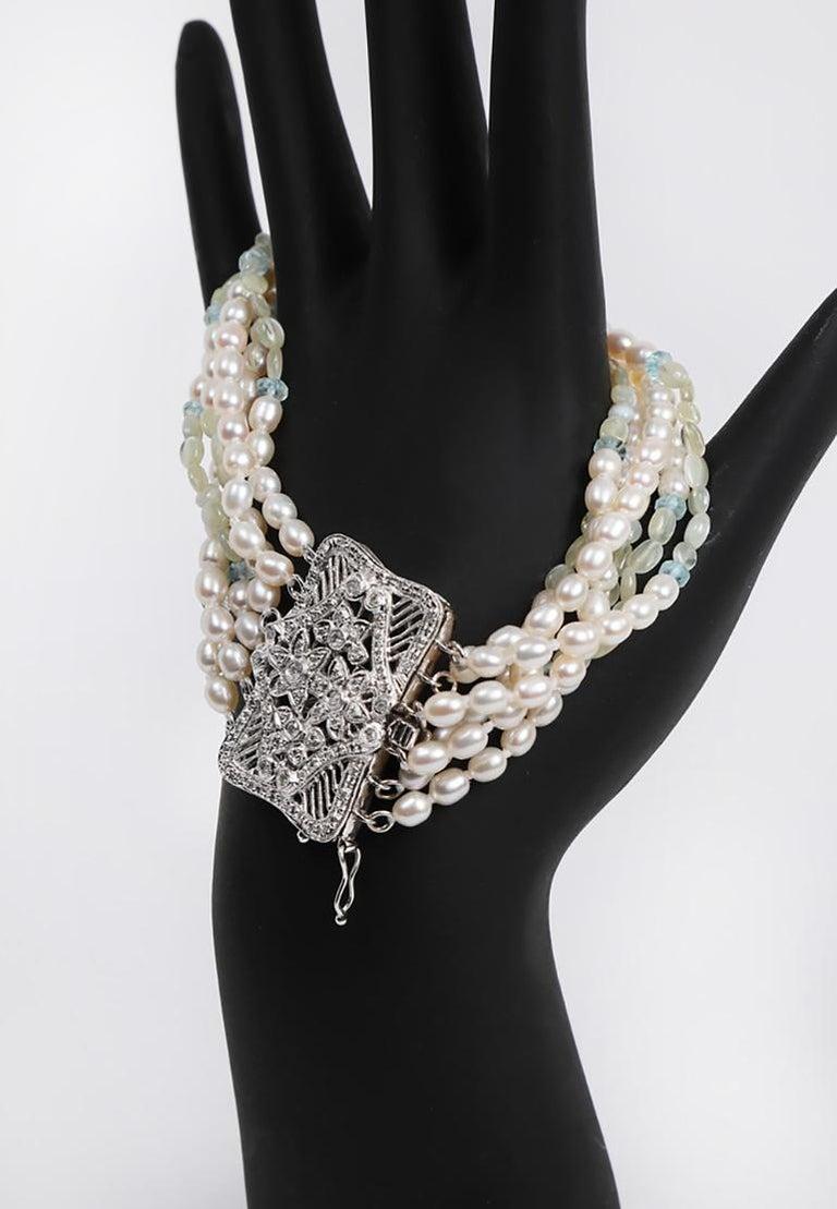Women's White Orchid Studio Beaded Bracelet Pearl Topaz Chrysoberyl Diamonds White Gold  For Sale