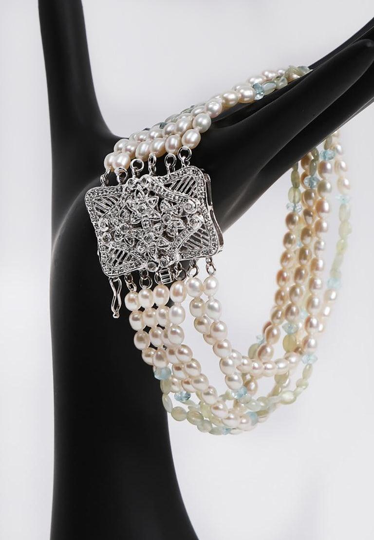 White Orchid Studio Beaded Bracelet Pearl Topaz Chrysoberyl Diamonds White Gold  For Sale 1
