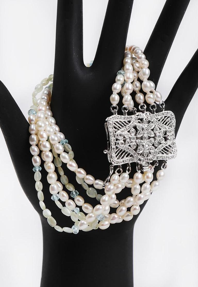 White Orchid Studio Beaded Bracelet Pearl Topaz Chrysoberyl Diamonds White Gold  For Sale 2