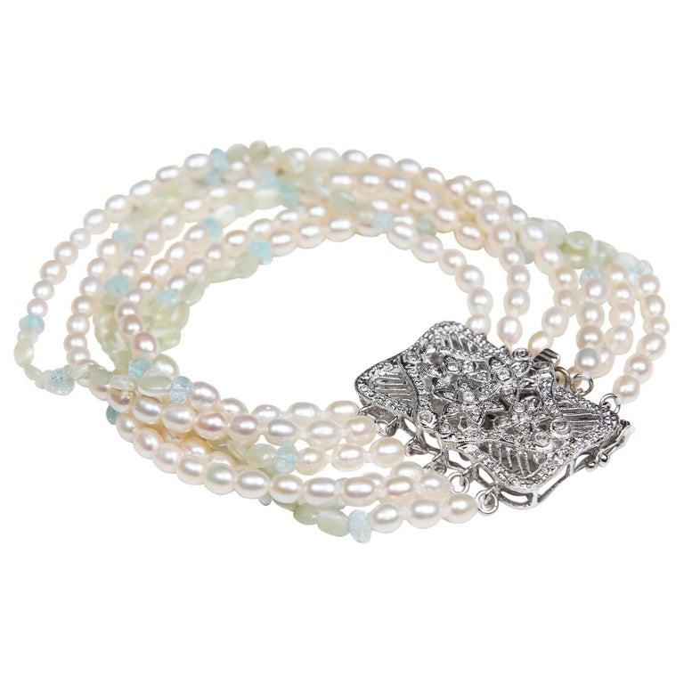 White Orchid Studio Beaded Bracelet Pearl Topaz Chrysoberyl Diamonds White Gold  For Sale