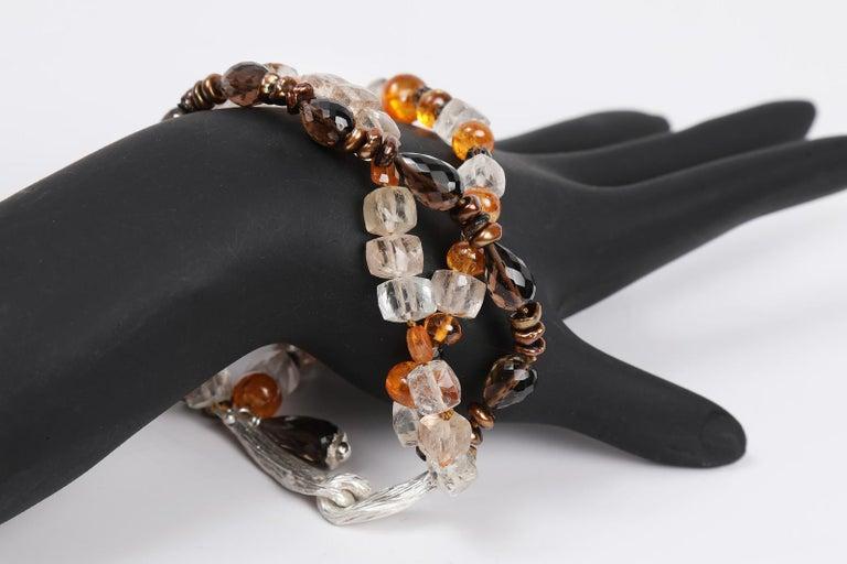 Women's White Orchid Studio Bead Bracelet Precious Topaz Quartz Mandarin Garnet Pearls For Sale