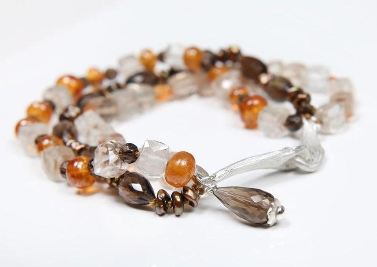 Contemporary White Orchid Studio Bead Bracelet Precious Topaz Quartz Mandarin Garnet Pearls For Sale