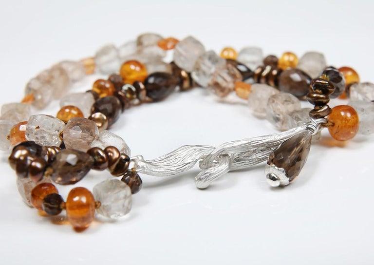 White Orchid Studio Bead Bracelet Precious Topaz Quartz Mandarin Garnet Pearls In New Condition For Sale In Athens, GA