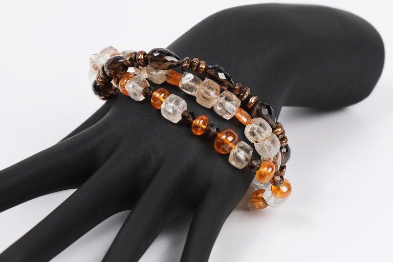 White Orchid Studio Bead Bracelet Precious Topaz Quartz Mandarin Garnet Pearls For Sale 1
