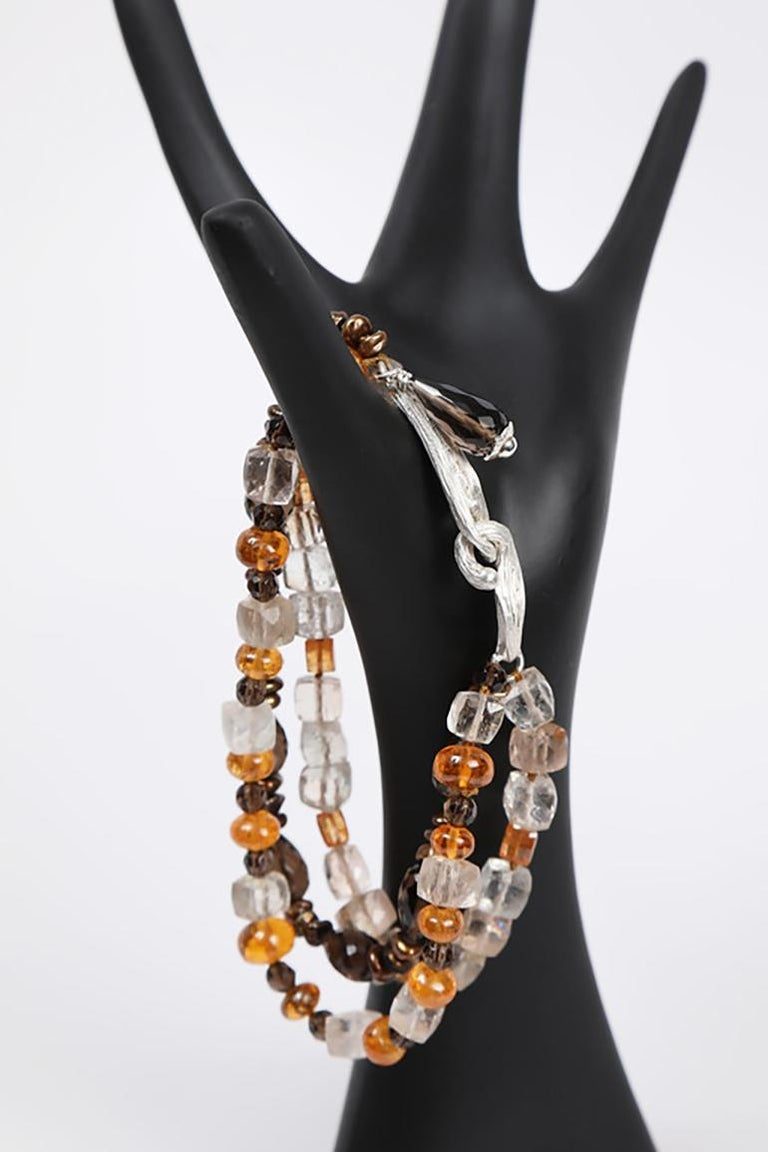White Orchid Studio Bead Bracelet Precious Topaz Quartz Mandarin Garnet Pearls For Sale 2