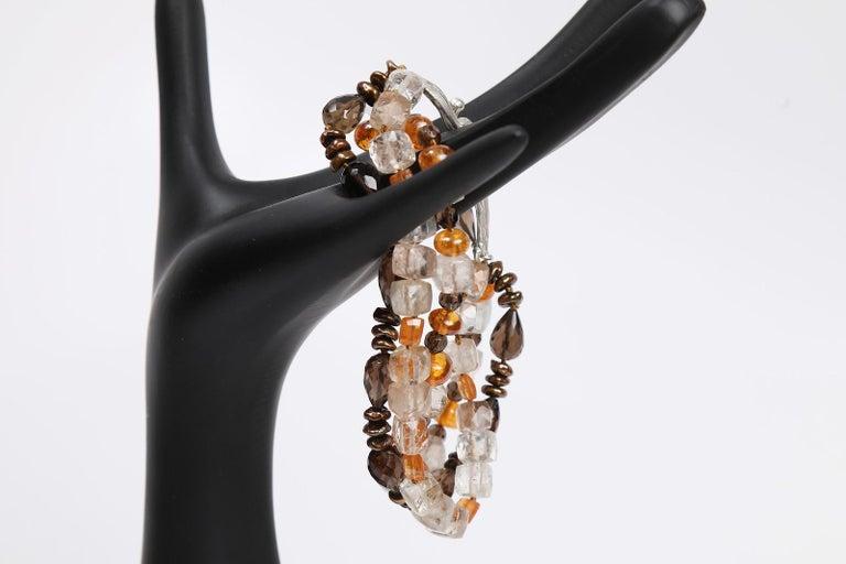 White Orchid Studio Bead Bracelet Precious Topaz Quartz Mandarin Garnet Pearls For Sale 3