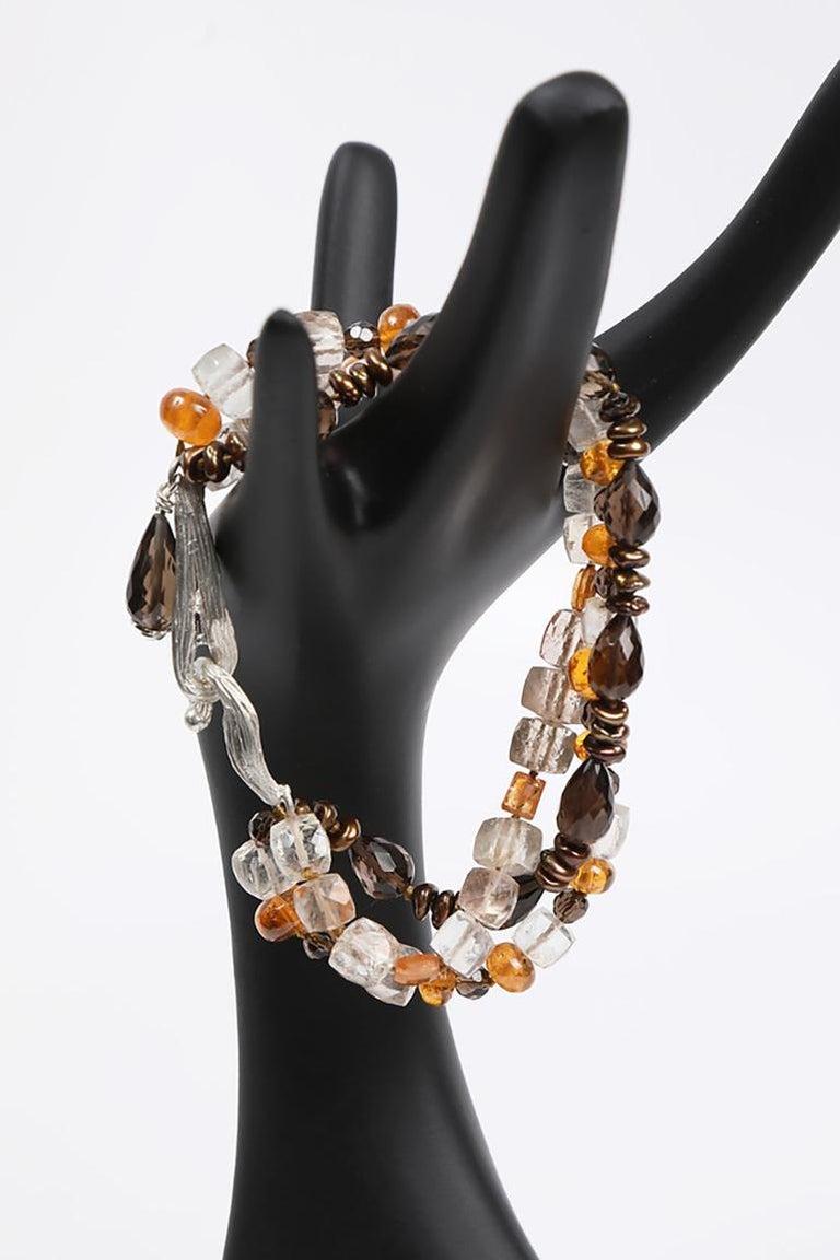 White Orchid Studio Bead Bracelet Precious Topaz Quartz Mandarin Garnet Pearls For Sale 4