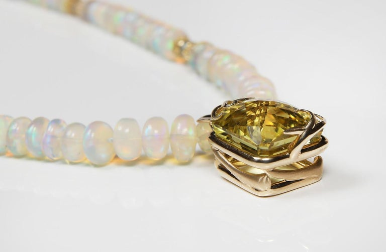 Cushion Cut Fiery Light: Pendant Choker Necklace-Opal Topaz Citrine Gold For Sale