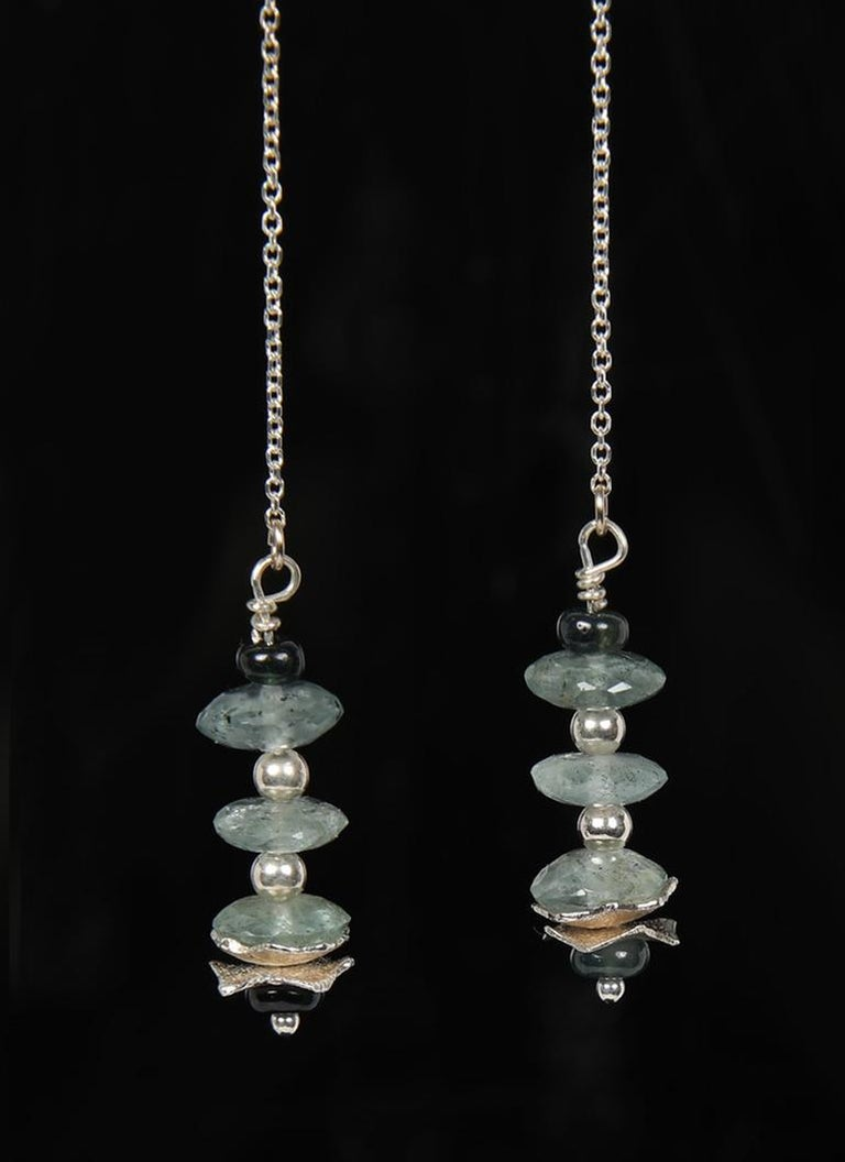 Contemporary White Orchid Studio Drop Earrings Moss Aqua Sapphires Silver For Sale