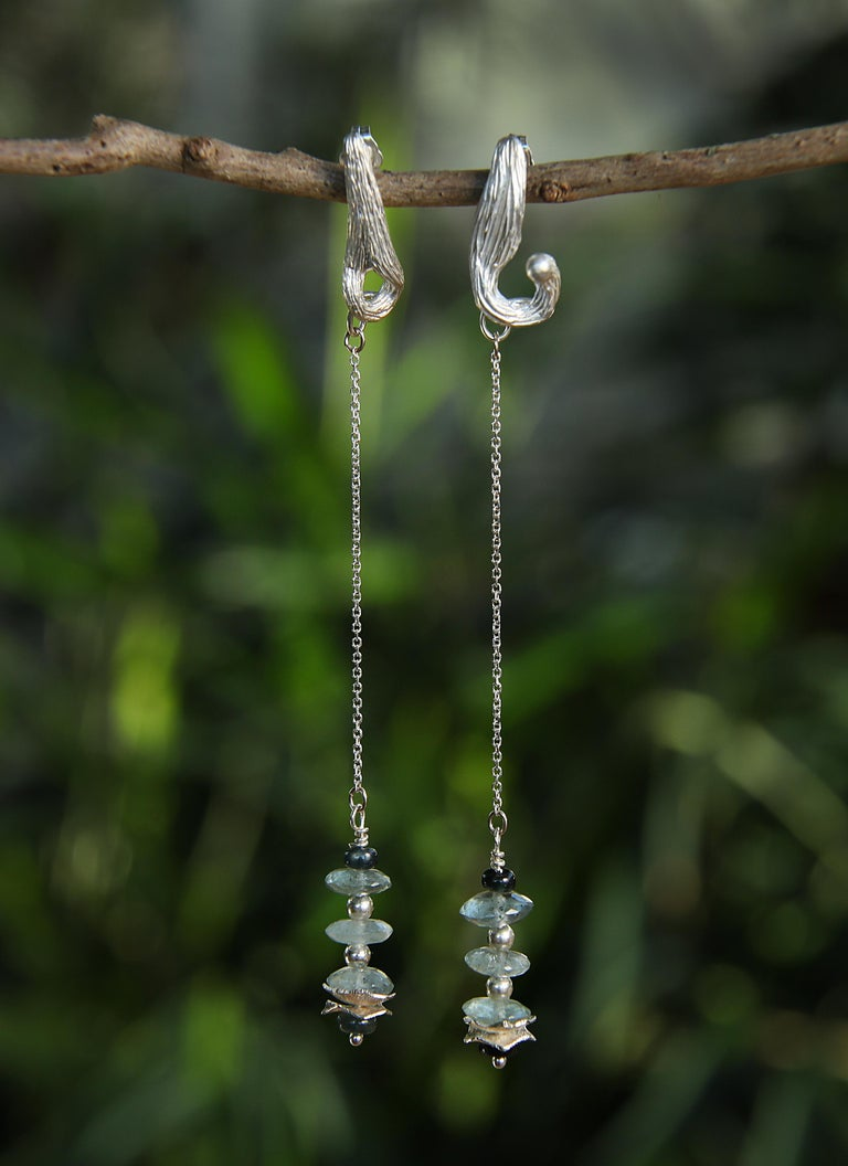 Women's White Orchid Studio Drop Earrings Moss Aqua Sapphires Silver For Sale