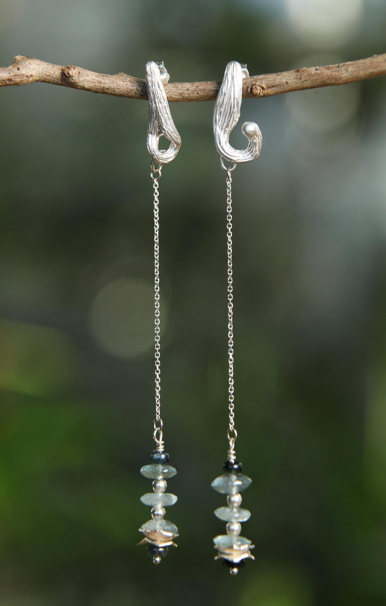 White Orchid Studio Drop Earrings Moss Aqua Sapphires Silver For Sale 1