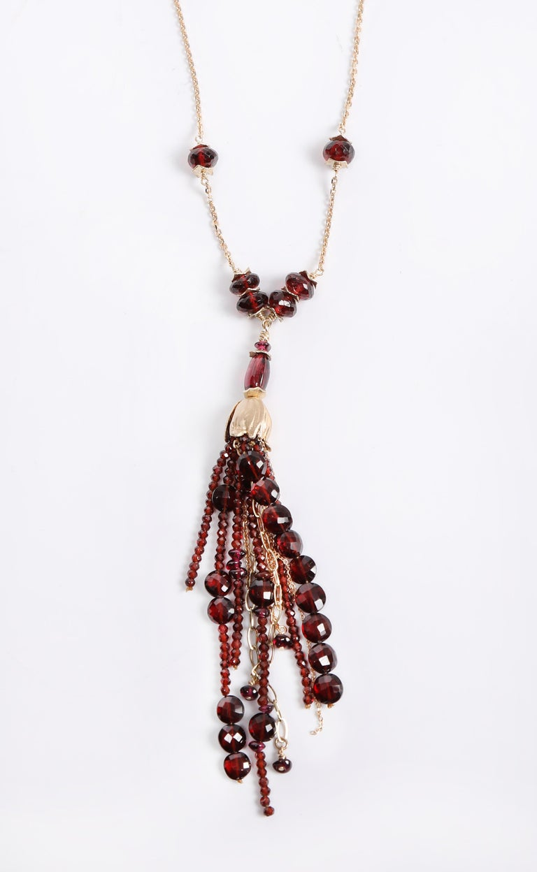 Contemporary White Orchid Studio Drop Necklace Gold Chains, Bead Cap and Spacers with Garnet For Sale