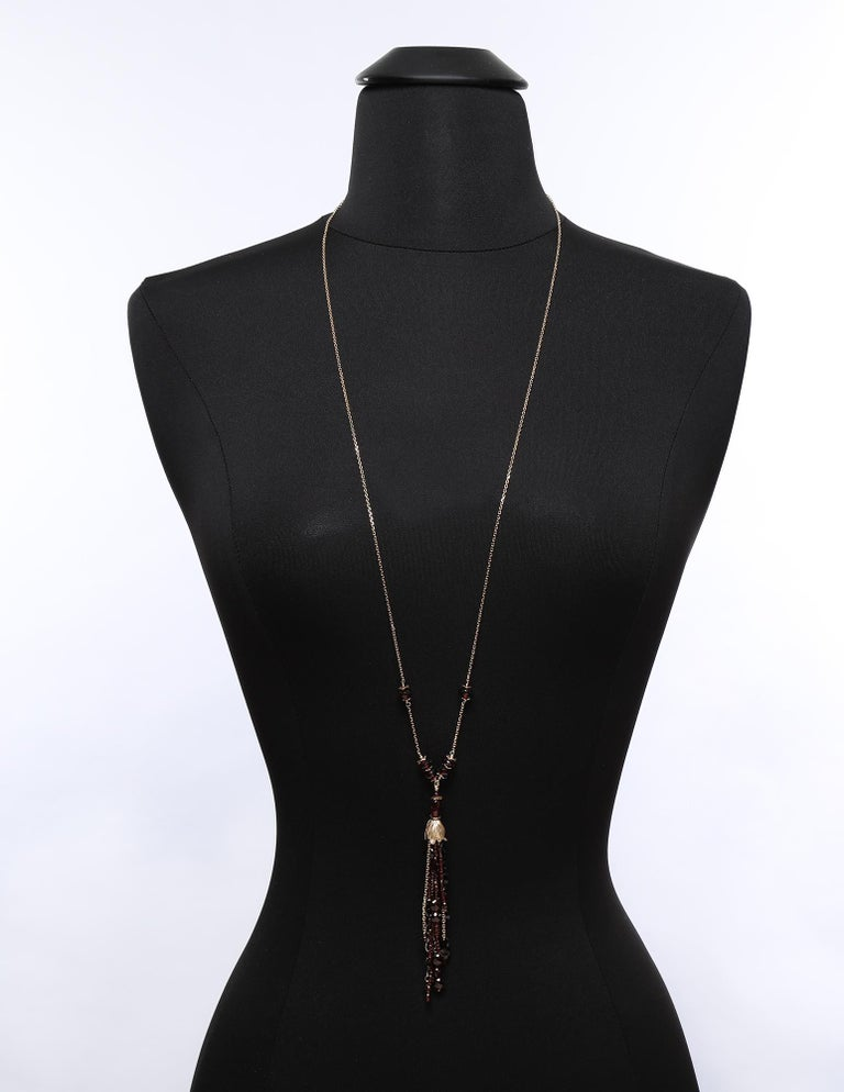White Orchid Studio Drop Necklace Gold Chains, Bead Cap and Spacers with Garnet For Sale 2