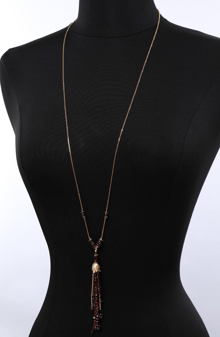 White Orchid Studio Drop Necklace Gold Chains, Bead Cap and Spacers with Garnet For Sale 3