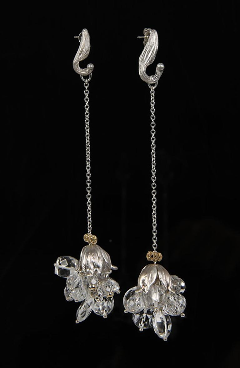 White Orchid Studio Silver Earrings Chrystal Quartz Yellow Gold In New Condition For Sale In Athens, GA