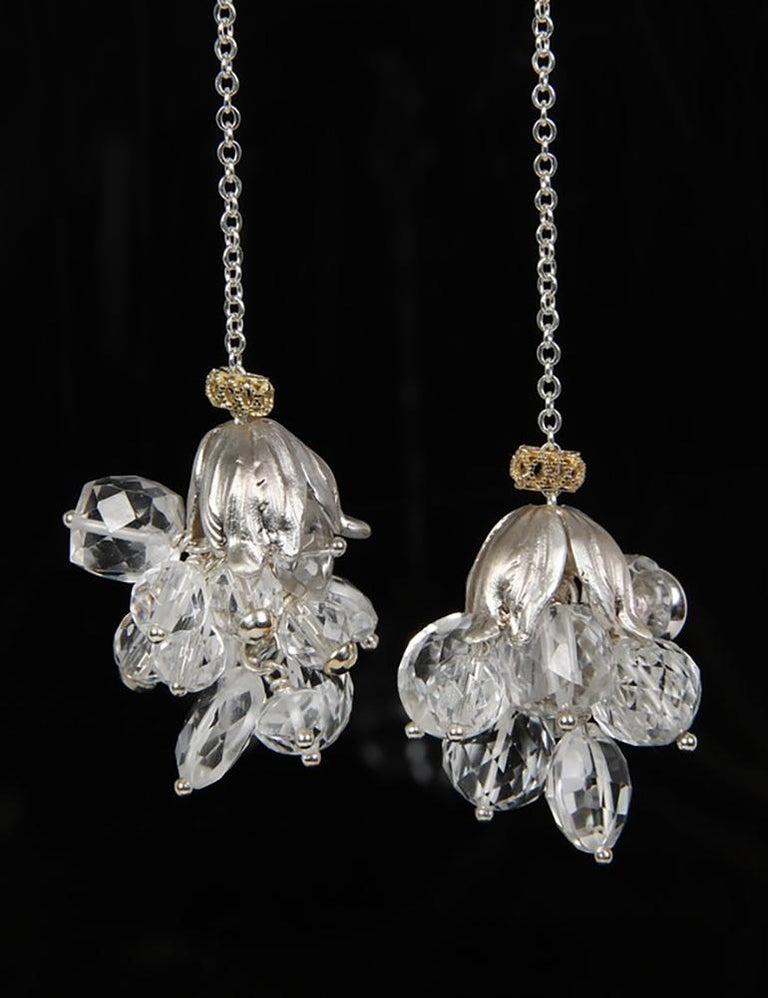 Women's White Orchid Studio Silver Earrings Chrystal Quartz Yellow Gold For Sale