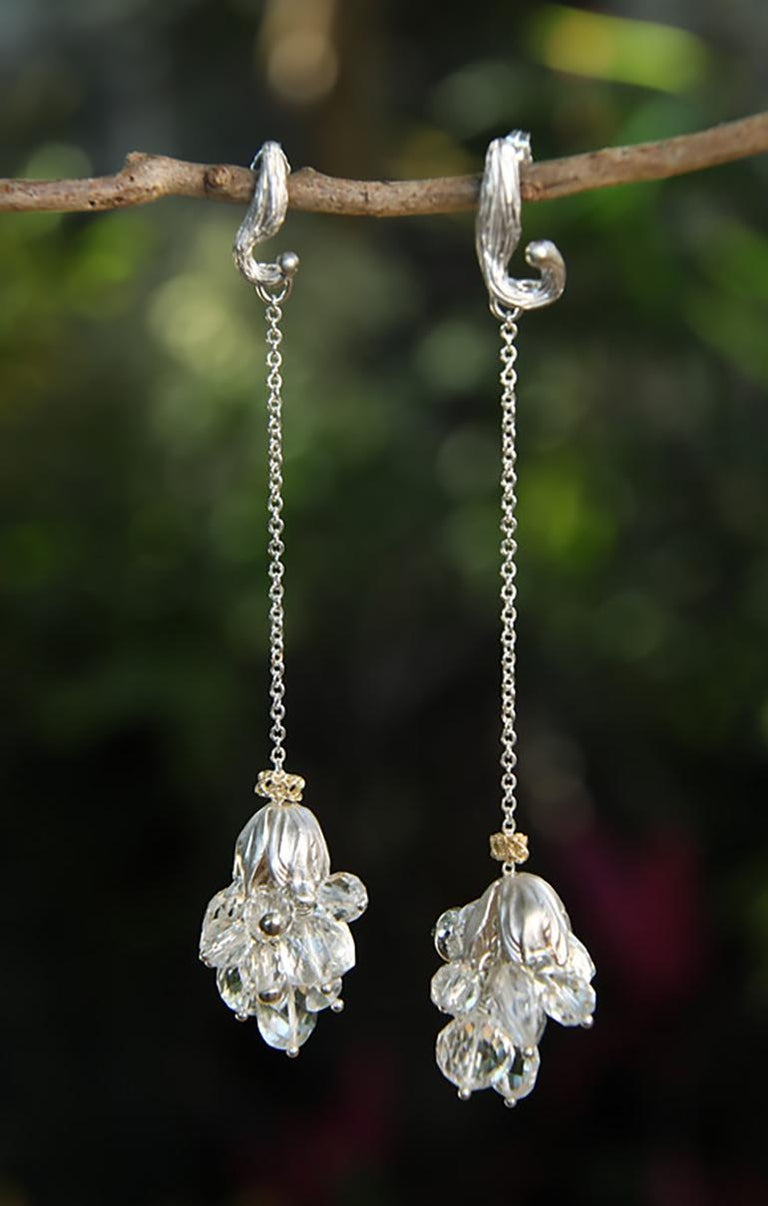 White Orchid Studio Silver Earrings Chrystal Quartz Yellow Gold For Sale 1