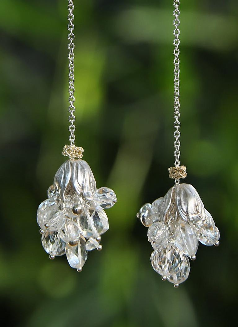 Contemporary White Orchid Studio Silver Earrings Chrystal Quartz Yellow Gold For Sale
