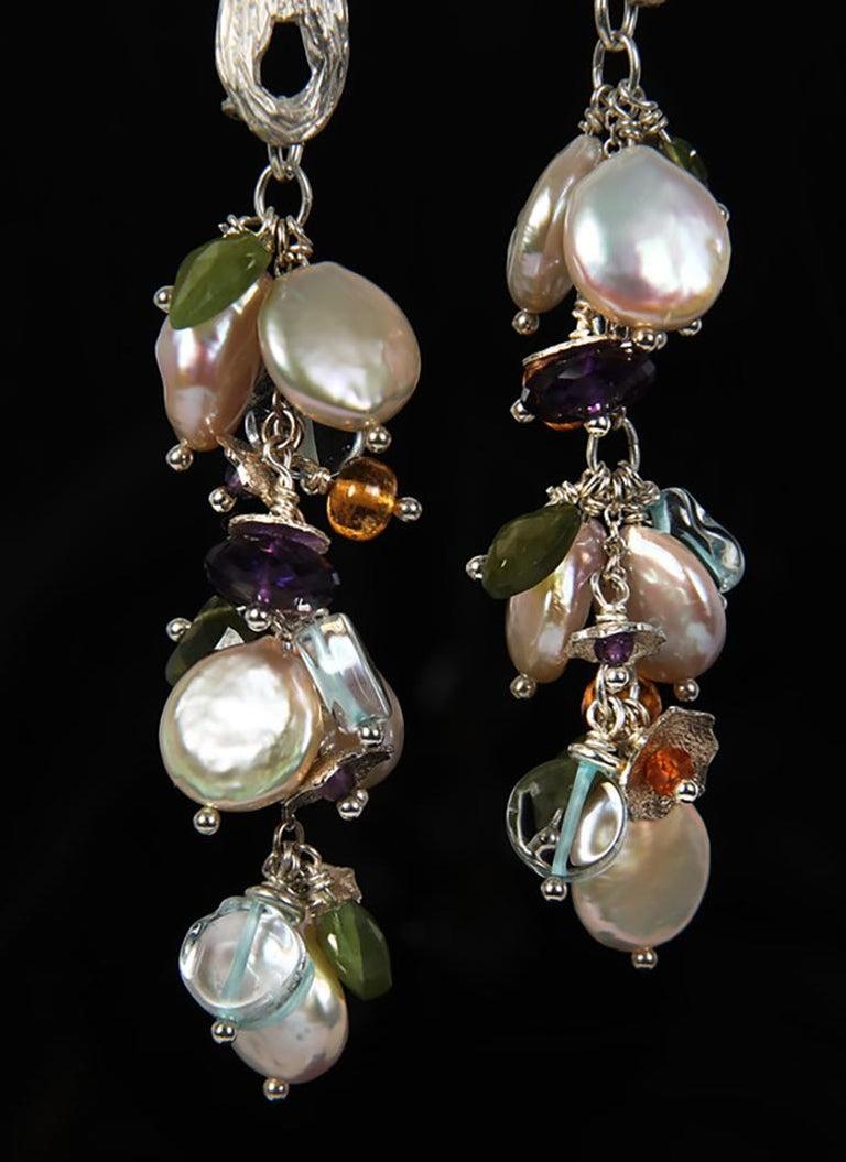 Contemporary White Orchid Studio earrings of pearl aqua mandarin garnet idocrase amethyst  For Sale