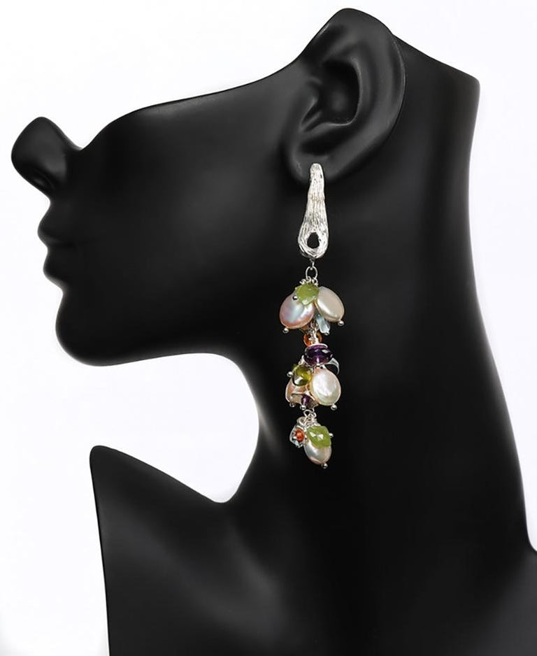 White Orchid Studio earrings of pearl aqua mandarin garnet idocrase amethyst  In New Condition For Sale In Athens, GA