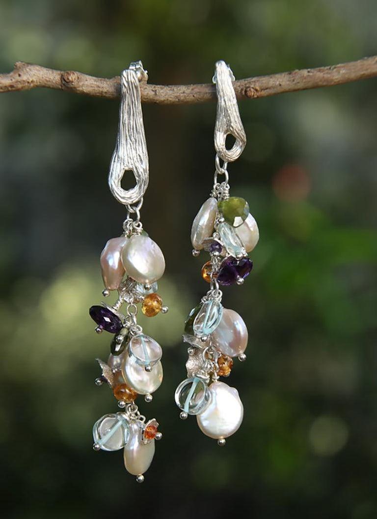 Women's White Orchid Studio earrings of pearl aqua mandarin garnet idocrase amethyst  For Sale