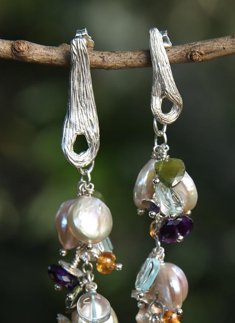 White Orchid Studio earrings of pearl aqua mandarin garnet idocrase amethyst  For Sale 1