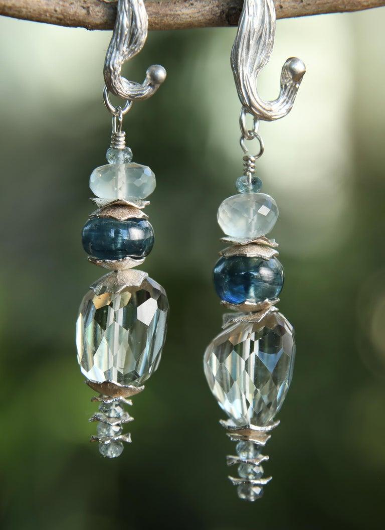 Women's White Orchid Studio Drop Earrings Prasiolite Kyanite Moonstone Apatite Silver For Sale