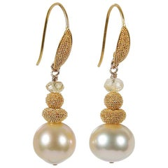 White Orchid Studio Drop Earrings South Sea Pearls Granulated Yellow Gold