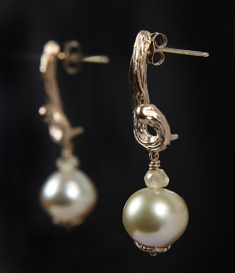 Contemporary White Orchid Studio Earrings South Sea Pearls Sapphire Yellow Gold   For Sale