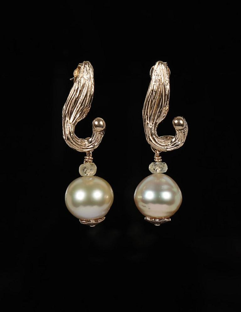 White Orchid Studio Earrings South Sea Pearls Sapphire Yellow Gold   In New Condition For Sale In Athens, GA