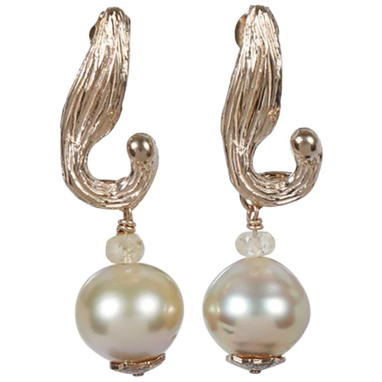White Orchid Studio Earrings South Sea Pearls Sapphire Yellow Gold   For Sale