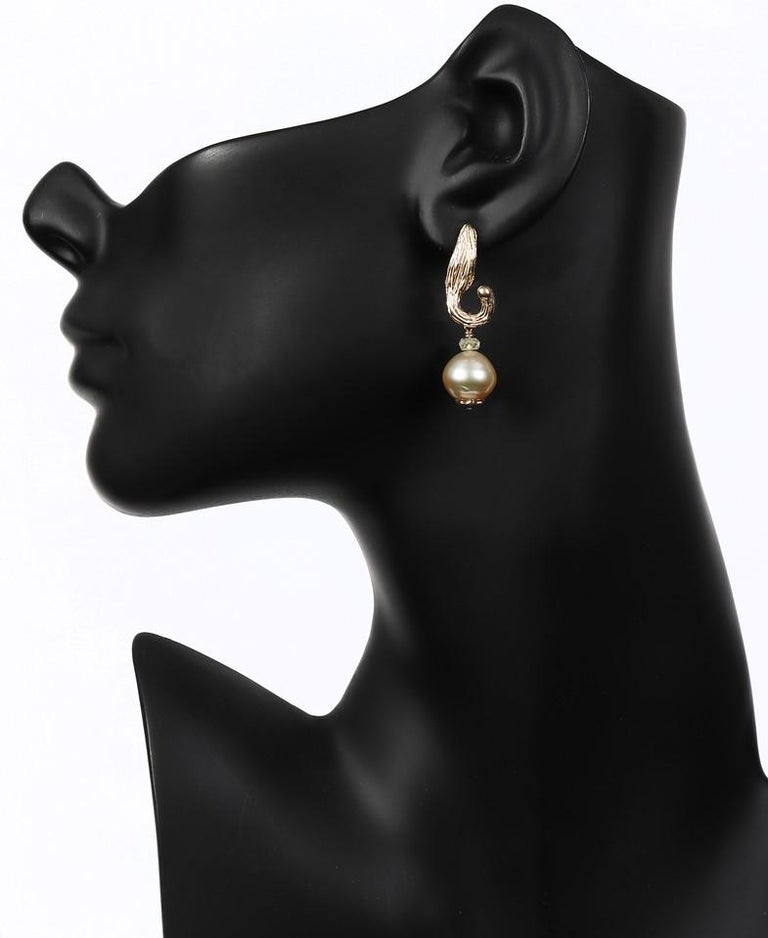 Women's White Orchid Studio Earrings South Sea Pearls Sapphire Yellow Gold   For Sale