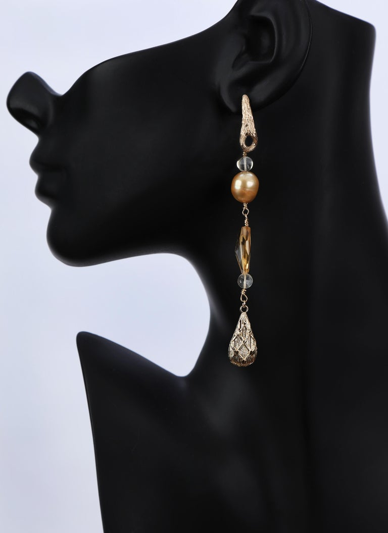 Contemporary Gold Pearl Citrine Drop Earrings For Sale