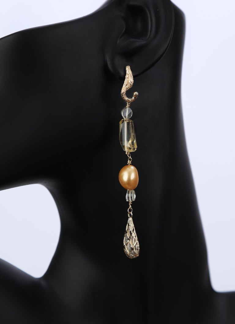 Gold Pearl Citrine Drop Earrings In New Condition For Sale In Athens, GA