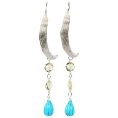 Mystery: Vanilla Bean Shoulder Duster Earrings-Citrine Turquoise Silver