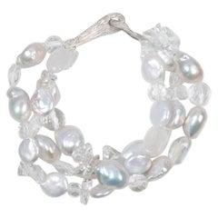 White Orchid Studio Multi-strand Bracelet Pearls Moonstone Quartz Silver