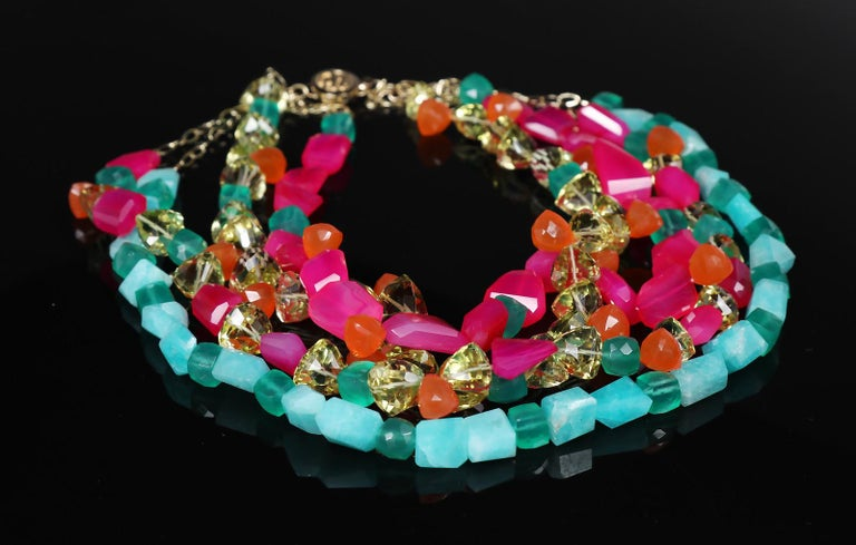 Contemporary Loving Lilly: Four-Strand Princess Necklace-Carnelian Amazonite Chalcedony Gold For Sale