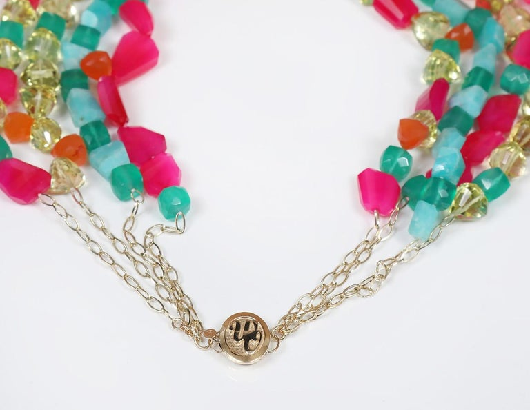 Loving Lilly: Four-Strand Princess Necklace-Carnelian Amazonite Chalcedony Gold In New Condition For Sale In Athens, GA