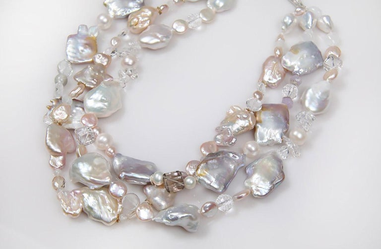 Contemporary Sunshine on My Shoulder: Three-Strand Matinee Necklace-Pearls Gems Silver For Sale
