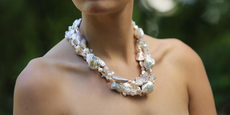 Women's Sunshine on My Shoulder: Three-Strand Matinee Necklace-Pearls Gems Silver For Sale