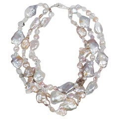 White Orchid Studio Multi-strand Necklace Pearls, Gold and Silver